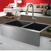 Vigo 33 inch Farmhouse Apron 60/40 Double Bowl 16 Gauge Stainless Steel Kitchen Sink; No