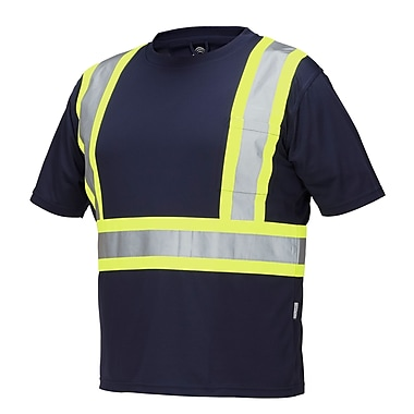 Forcefield Short Sleeve Safety Tee, Navy, Small