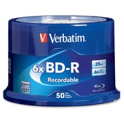 Verbatim ® Blu-Ray Recordable Media with Branded Surface, 25GB, BD-R, 6x, 50/Pack (98397)
