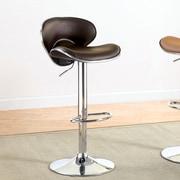 Hokku Designs Vince Leatherette Adjustable Height Swivel Bar Stool with Cushion; Dark Brown