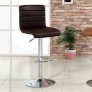 Hokku Designs Felicity Adjustable Height Swivel Bar Stool with Cushion; Dark Brown