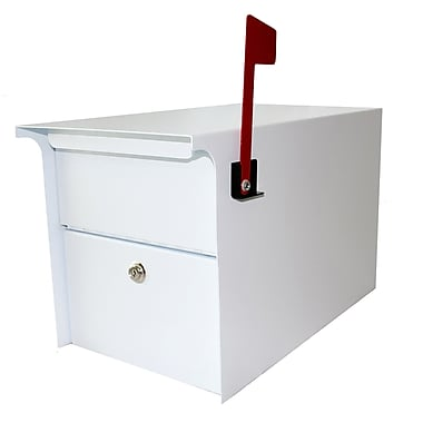 dVault Locking Post Mounted Mailbox; White