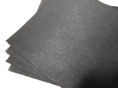 Textiles Plus Inc. Reversible Faux Leather Embossed Dinning Room Placemat Set of 4 ; Black