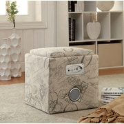 Hokku Designs Reverb Cube Ottoman with Bluetooth Speakers; Print