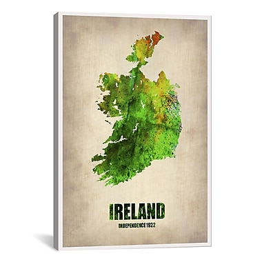 iCanvas Ireland Watercolor Map by Naxart Graphic Art on Wrapped Canvas; 40'' H x 26'' W x 0.75'' D