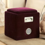 Hokku Designs Reverb Cube Ottoman with Bluetooth Speakers; Purple