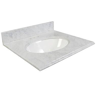Foremost – Comptoir 25 po, granite blanc Carrara, trous robinet central 4 po, évier encastré inclus, dosseret arrière/latéral
