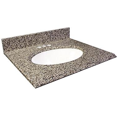 Foremost – Comptoir 31 po, granite brun Murcia, trous robinet central 4 po, évier encastré inclus, dosseret arrière/latéral