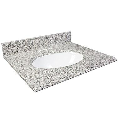 Foremost – Comptoir 31 po, granite blanc frêne, trous robinet central 4 po, évier encastré inclus, dosseret arrière/latéral