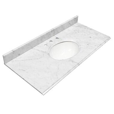 Foremost – Comptoir 49 po, granite blanc Carrara, trous robinet central 8 po, évier encastré inclus, dosseret arrière/latéral