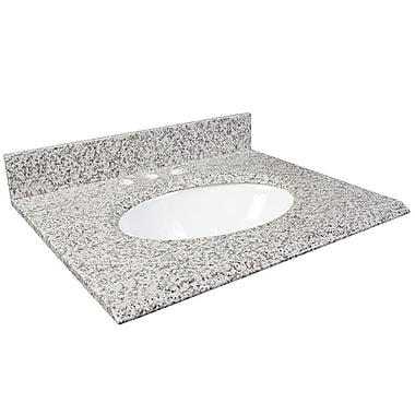 Foremost – Comptoir 37 po, granite blanc frêne, trous robinet central 8 po, évier encastré inclus, dosseret arrière/latéral