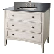 "Foremost Bernay Collection 36"" Vanity, Antique White Finish, Pewter Hardware, 2 Slow Close Drawers and A Pull Down Door"