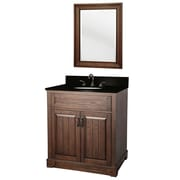 "Foremost Elm 31"" Vanity with Top and Mirror, Burnished Walnut Finish, 2 Doors, Pre-Attached Mounting Hooks On Mirror"