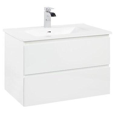 Foremost – Ensemble de meuble-lavabo Marleau de 29 1/2 po accroché au mur, fini blanc peint, évier blanc en porcelaine vitrifiée