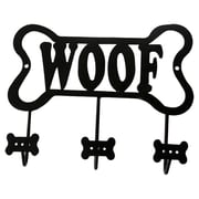 DEI Lucky Dog Bone Shaped ''Woof'' Leash Wall Hook Rack