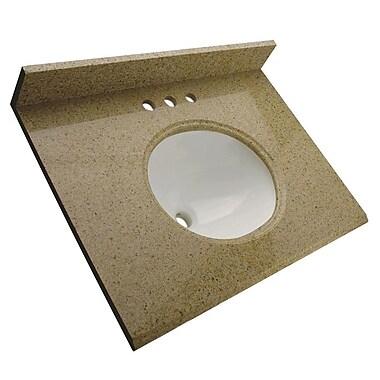 Foremost – Comptoir de 25 po en granite, trous à robinet central 4 po, évier encastré préinstallé, dosseret arrière et latéral