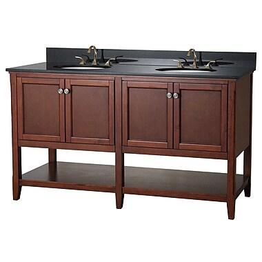 Foremost – Meuble-lavabo 60 po, coll. Auguste, fini marron, 4 portes douceur, étagère ouverte, comptoir et robinet non inclus