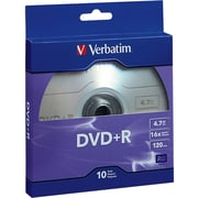 Verbatim DVD+R 4.7GB 16X with Branded Surface, 10pk Bulk Box