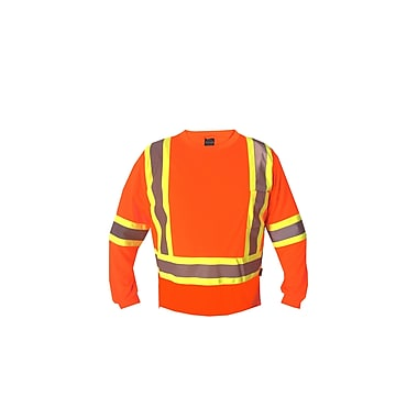Forcefield Long Sleeve Safety Tee, Orange, 4XL