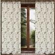 LJ Home Marigold Floral Jacquard Grommet Window Panels (Set of 2); Driftwood Brown / Cream