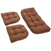 Blazing Needles 3 Piece Outdoor Bench and Dining Chair Cushion Set; Mocha
