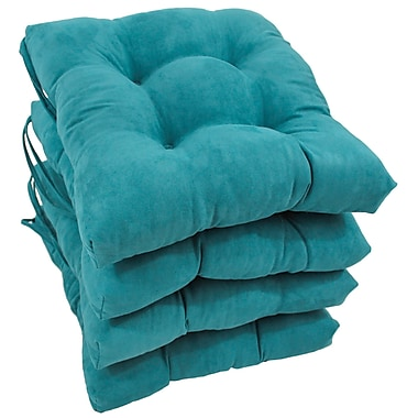 Blazing Needles Outdoor Dining Chair Cushion (Set of 4); Aqua Blue