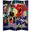 Oriental Furniture 71'' x 63'' Tall Double Sided Tasmanian Devil and Bugs Bunny 4 Panel Room Divider