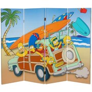Oriental Furniture 48'' x 63'' Tall Double Sided Simpson Family Vacation 4 Panel Room Divider