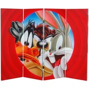 Oriental Furniture 48'' x 63'' Tall Double Sided Looney Tunes 4 Panel Room Divider