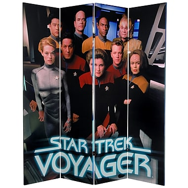 Oriental Furniture 71'' x 63'' Star Trek Tall Double Sided Voyager 4 Panel Room Divider