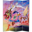 Oriental Furniture 71''x 63'' Tall Double Sided Roadrunner and Daffy Duck 4 Panel Room Divider