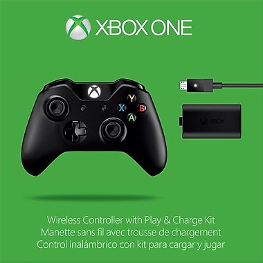 Xbone Wireless Controller Black with Play and Charge Kit, Xbox One
