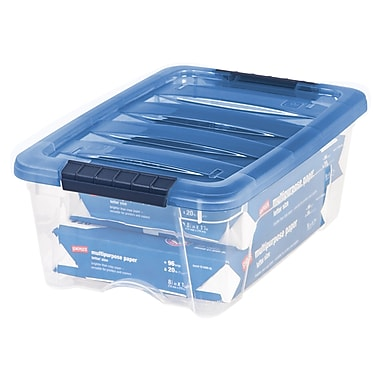 IRIS® 12.9 Quart Stack & Pull Modular Box, Clear with Navy Lid (100306)