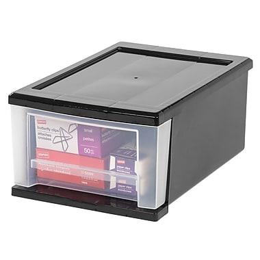Staples® 7 Quart Small Stacking Drawer, Black (129828)