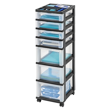 Staples Plastic 7-Drawer Rolling Cart, Black and Clear (116864)