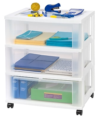 IRIS®3 Drawer Wide Plastic Storage Drawer Cart