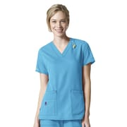 Carhartt® CROSS-FLEX Women's V Neck Media Scrub Top, Cyan2XL