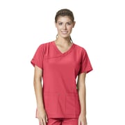 Carhartt® CROSS-FLEX Women's Y Neck Fashion Scrub Top, Azalea, Medium