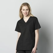 WonderWink® WonderWORK Women's V Neck Scrub Top, Black, 5XL