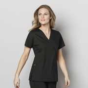 WonderWink® WonderWORK Women's Mock Wrap Scrub Top, Black, X-Small