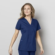 WonderWink® WonderWORK Women's Mock Wrap Scrub Top, 4XL, Navy