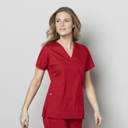 WonderWink® WonderWORK Women's Mock Wrap Scrub Top, Red, Small