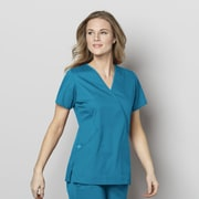WonderWink® WonderWORK Women's Mock Wrap Scrub Top, 4XL, Teal