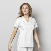 WonderWink® WonderWORK Women's Mock Wrap Scrub Top 2XL White