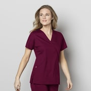 WonderWink® WonderWORK Women's Mock Wrap Scrub Top Medium Wine