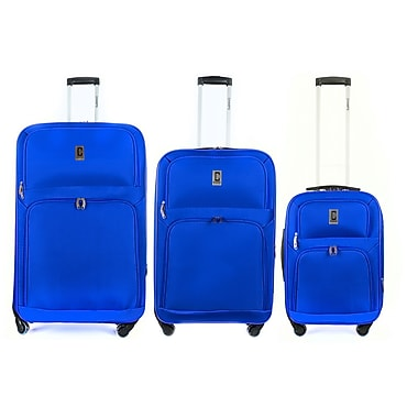 Champs - Ensemble de bagage de la collection Globe à roues multidirectionnelles, 3 pièces, bleu