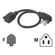 C2G ® 1.5' NEMA 5-15P/NEMA 5-15R Male/Female Flat Plug Standard Power Cord, Black (29804)