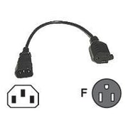 C2G ® 1' IEC320C14/NEMA 5-15R Male/Female Monitor Power Adapter Cord, Black (3147)
