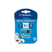 Verbatim ® Store 'n' Go 8GB 10Mbps Read/4Mbps Write Micro USB 2.0 Flash Drive, Caribbean Blue (47425)