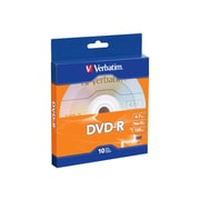 Verbatim ® DVD Recordable Media with Branded Surface, 4.7GB, DVD-R,16x, 10/Pack (97957)